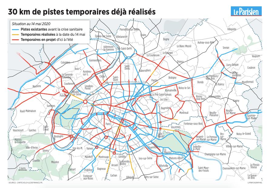 infographie pistes cyclables paris